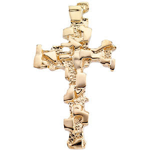 18k Yellow Gold 38x22mm Cross Pendant