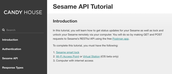 Sesame API Tutorial