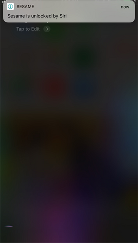sesame siri shortcut notification