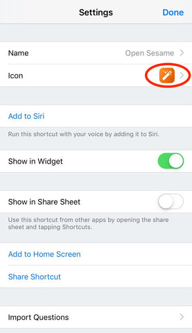 change sesame siri shortcut icon
