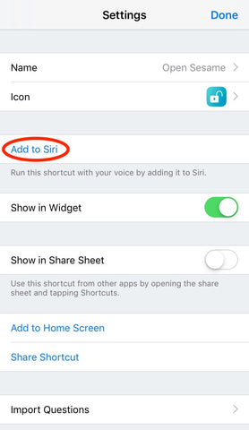 add sesame shortcut to siri