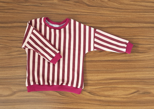 Baby Toddler Wine + Dusty Pink Drop Shoulder Sweater - From Harper