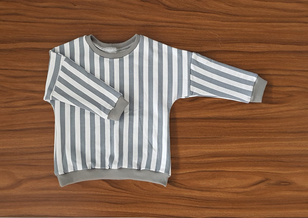 Baby Toddler Grey + White Drop Shoulder Sweater - From Harper