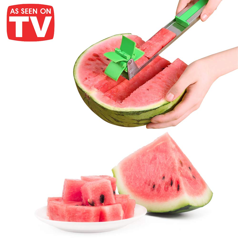 Watermelon Windmill Cutter Slice A Watermelon in a FLASH! Stainless Steel Watermelon Slicer Fruit Tools Kitchen Gadgets FDA Approved & BPA Free BONUS PACK