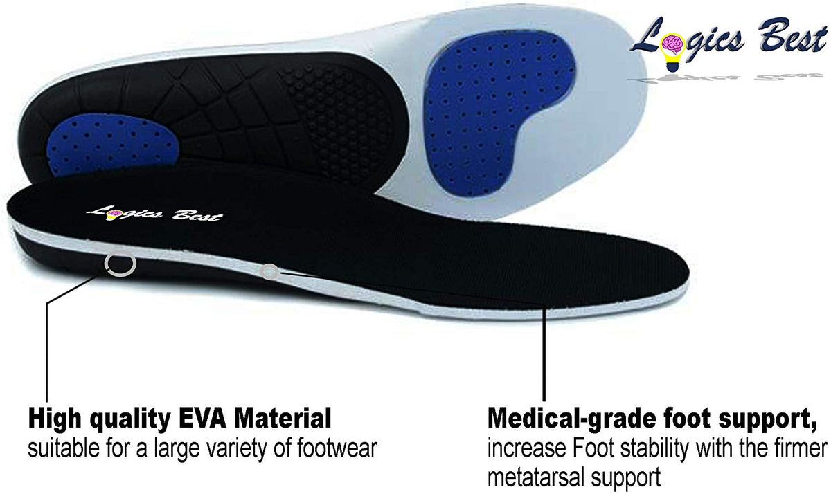 Pain Relief Insoles, Professional-Grade High Arch Orthotic Insert for Maximum Support, Unisex, Anti-Fatigue Technology Replacement Insole