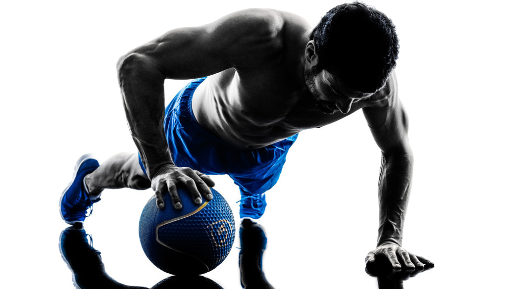 medicine ball exercises, one arm pushup