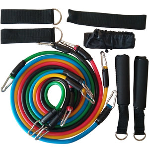 YOUGLE 11 piece set Pull Rope Fitness Exercises Resistance Bands Latex Tubes