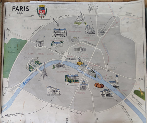 Vintage School Map of Paris for France Wall Art