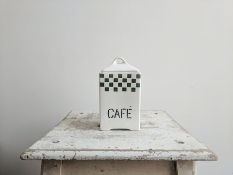 "Vintage French Coffee ""Café"" Ceramic Container"