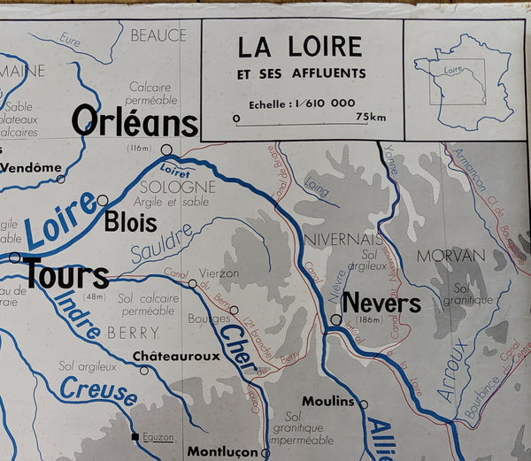 Vintage School Map of France and the Loire Valley