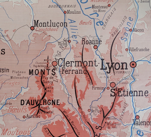 Gift For Traveler: Double Sided Vintage Map of Lyon, Dijon and France