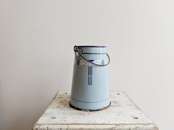 Vintage Enamel Milk Pail in Blue Enamelware With Graphic Design, for Blue Kitchen