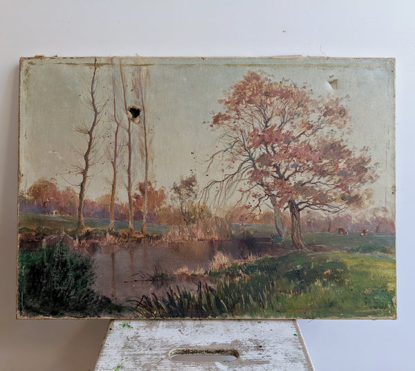 French Vintage Painting of Landscape