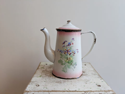 Copy of Vintage French Coffee Pot in Pink Enamelware, With Cherry Design