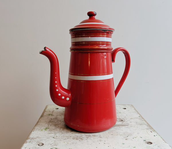 Red Vintage Enamel Coffee Pot in Excellent Condition