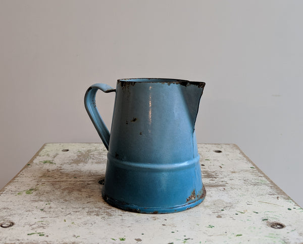Small Vintage Enamel Pitcher in Blue Enamelware