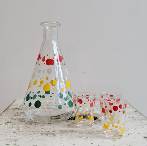 French Vintage Decanter in Polka Dots With Shot Glasses, For Mid Century Modern Decor