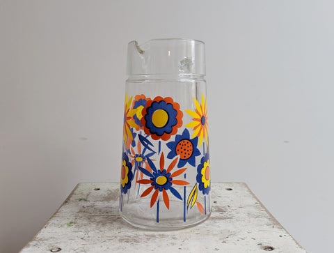 1970s Decor Colorful Glass Pitcher