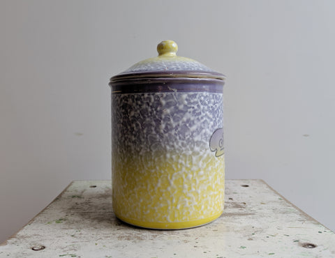 Vintage Enamel Pot for Farine (Flour), for Yellow Kitchen