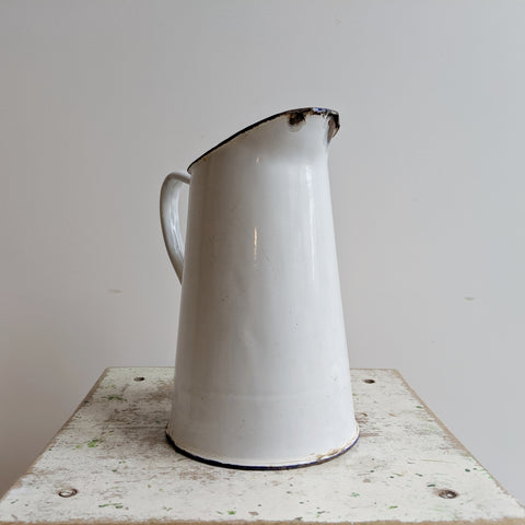French Vintage Water Jug in White Enamelware, For French Country Kitchen