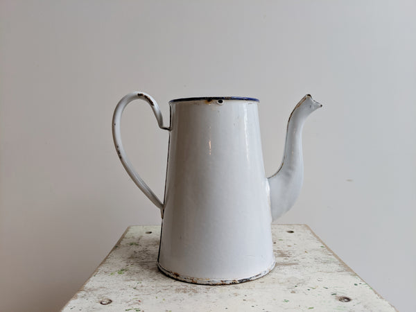 French Vintage Coffee Pot in White Enamelware, for Rustic Kitchen Style
