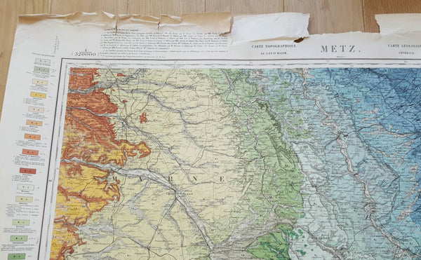 Antique Map of France and Metz-Faraway Places