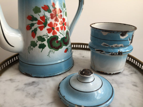 French Blue Enamelware Coffee Pot With Floral Design-Faraway Places