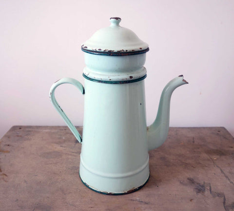 French Enamelware Coffee Pot in Mint Green-Faraway Places