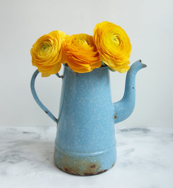 French Enamelware Vintage Pitcher in Light Blue-Faraway Places