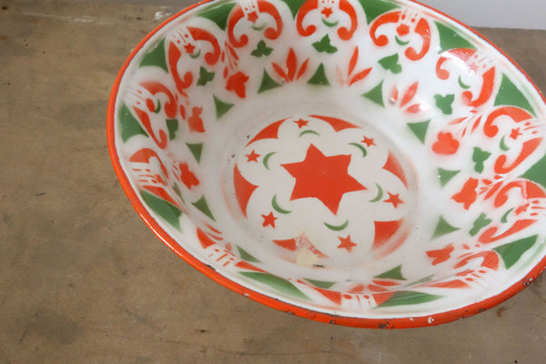 French Vintage Bowl in White Enamelware With Pattern-Faraway Places