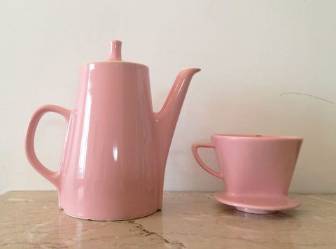 French Vintage Ceramic Coffee Pot in Pink-Faraway Places