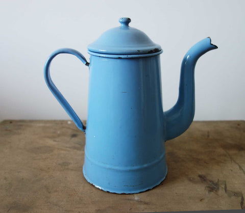 French Vintage Coffee Pot in Blue Enamelware-Faraway Places