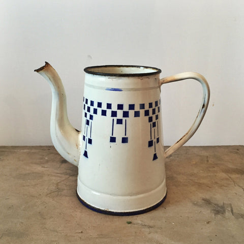 French Vintage Coffee Pot in Damier Check-Faraway Places