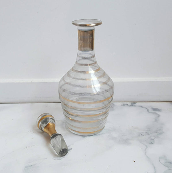 French Vintage Decanter With Gold Bands-Faraway Places
