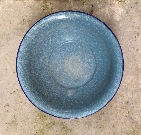 French Vintage Enamelware Basin in Blue-Faraway Places