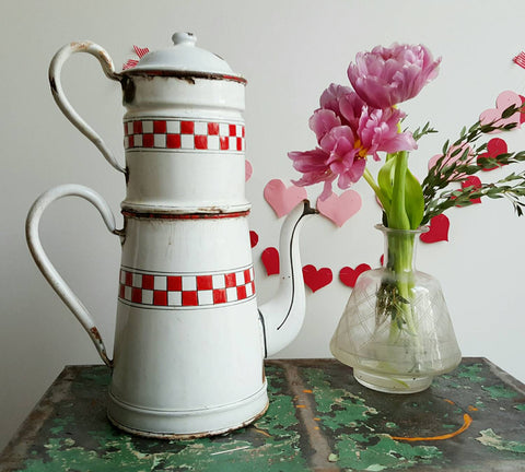 French Vintage Enamelware Coffee Pot in White and Red-Faraway Places
