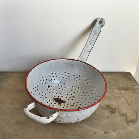 French Vintage Enamelware Colander in Gray-Faraway Places