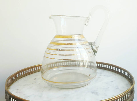 French Vintage Glass Pitcher With Gold Bands-Faraway Places