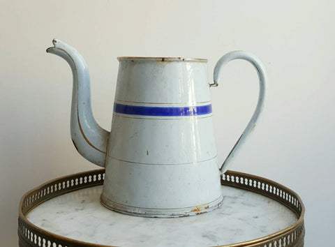 French Vintage Pitcher in White Enamelware With Blue and Gold Stripes-Faraway Places