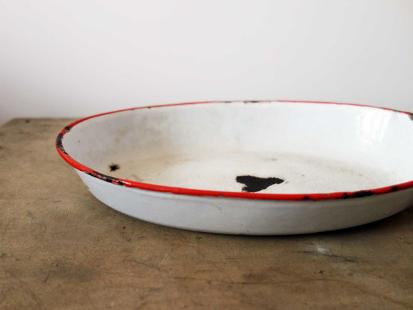 French Vintage Platter in White Enamelware-Faraway Places