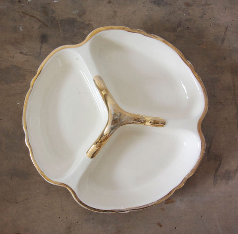 French Vintage Serving Platter in Cream and Gold-Faraway Places