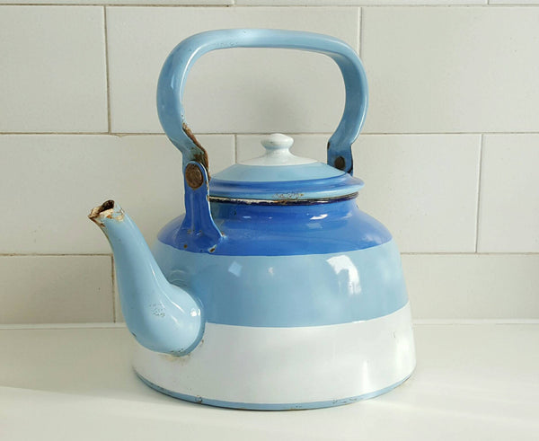 French Vintage Teapot in Blue Striped Enamelware-Faraway Places