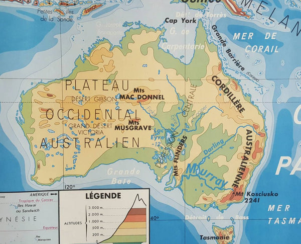 Vintage School Map of Australia and South America