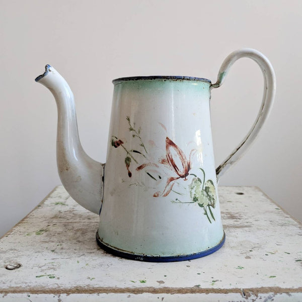 Blue and White Vintage French Coffee Pot With Floral Design
