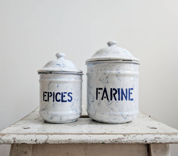 Vintage Enamelware Spice Set in White