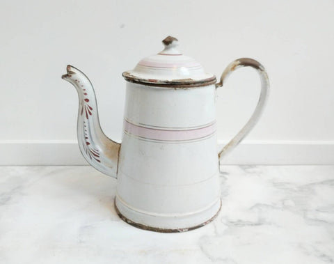 Pink and White Enamelware French Vintage Coffee Pot, for Rustic Kitchen Decor