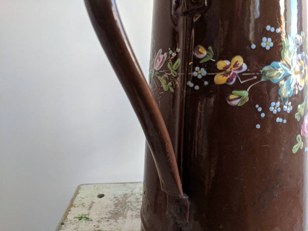 Vintage Brown Enamelware Coffee Pot or Pitcher, For French Country Decor