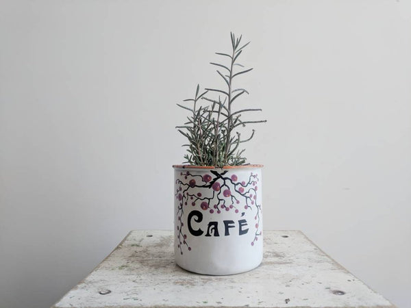 "Vintage French Coffee ""Café"" Enamelware Container"
