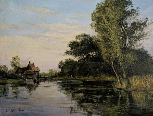 French Vintage Oil Painting of River Landscape