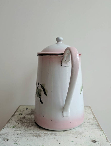Vintage French Coffee Pot in Pink Enamelware, With Cherry Design